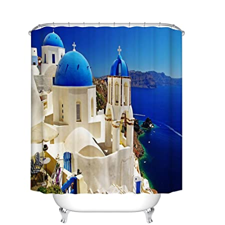 "72x72/"" Santorini Blue Top Church Waterproof Fabric Shower Curtain Bathroom Hooks"
