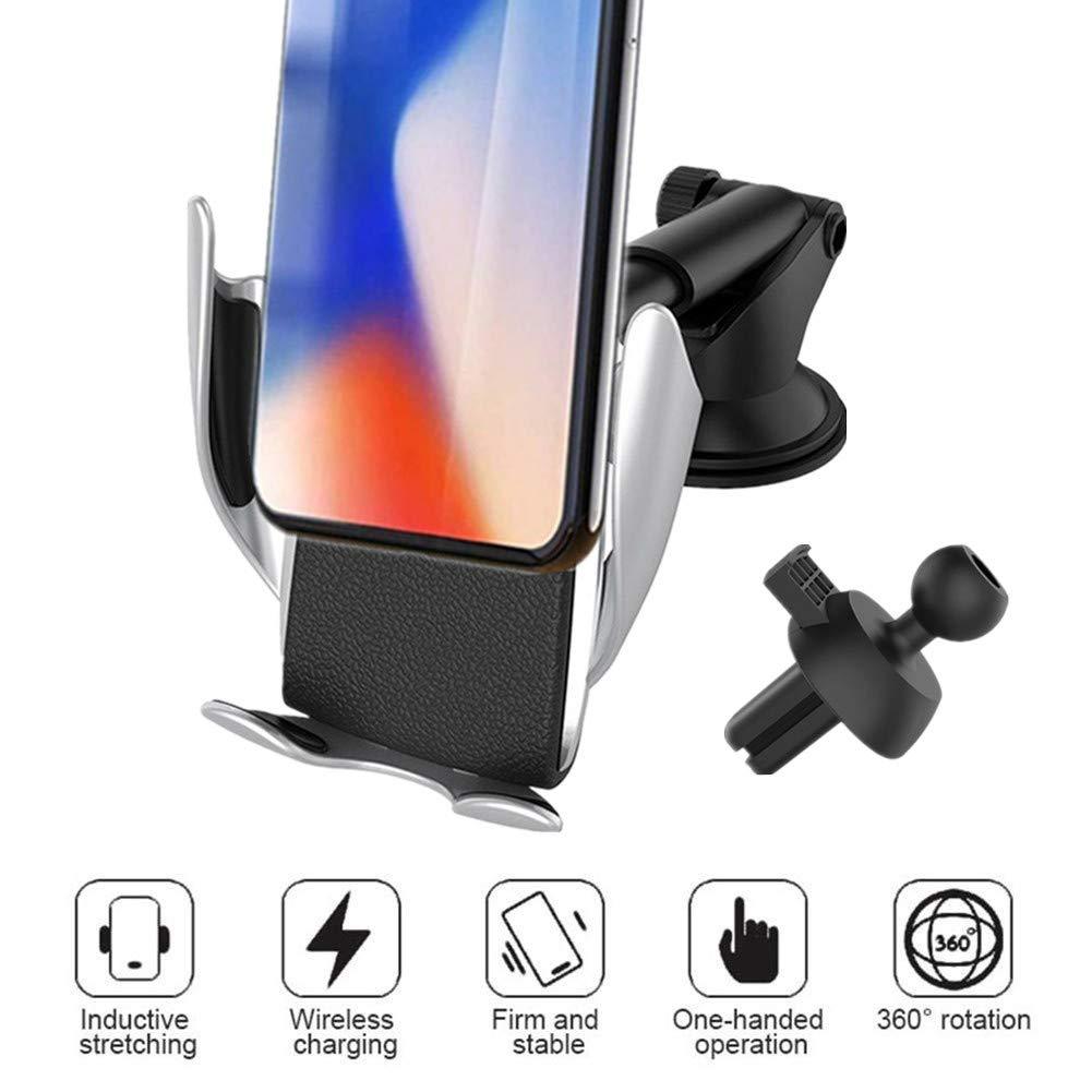Happyit Inteligente Sensor Infrarojo Cargador Inal/ámbrico Tenedor del Tel/éfono del Coche Qi Salida de Aire del Coche Montaje por Succi/ón Soporte de Telefono Movil para 4.0-6.5 Celulares