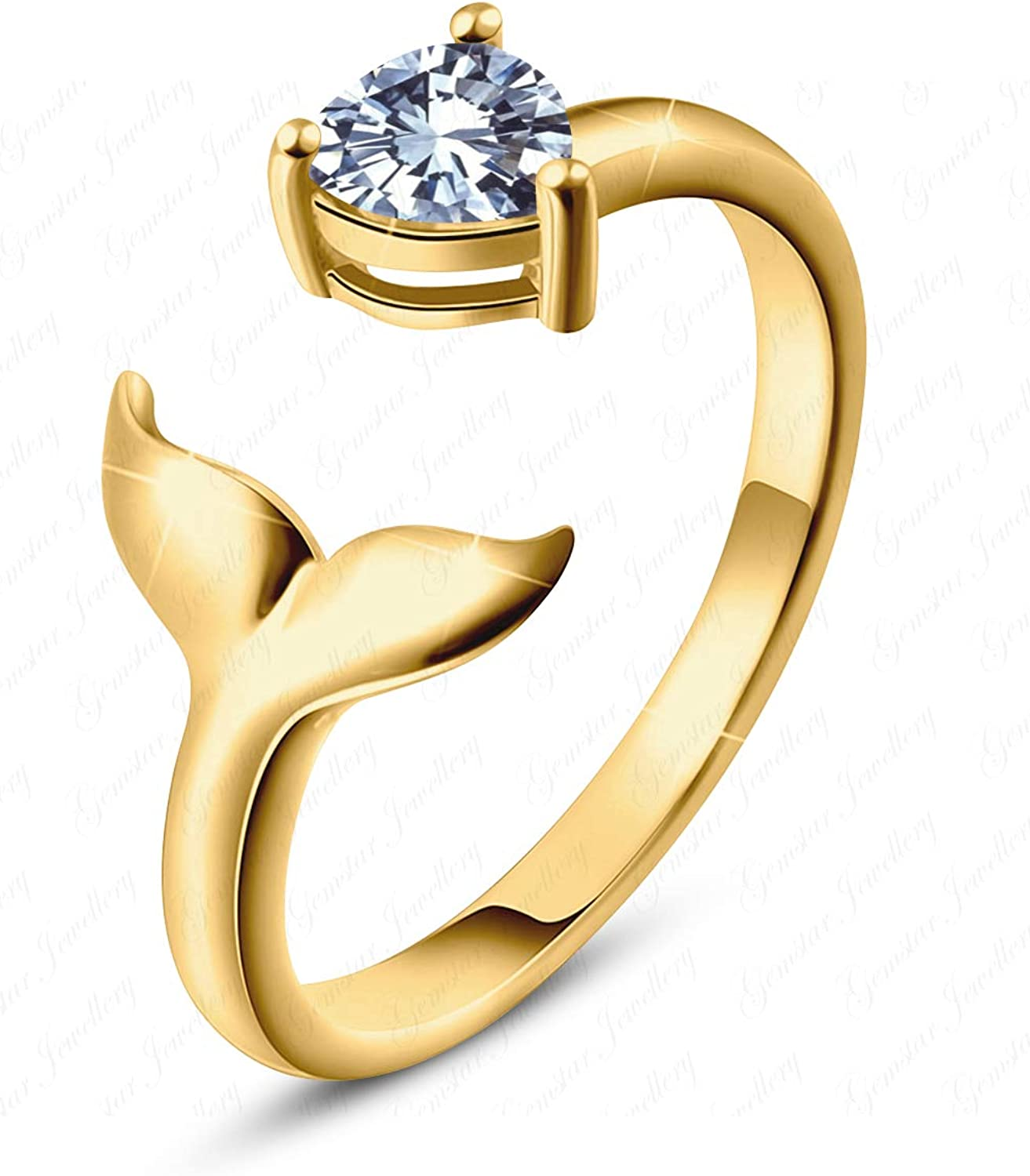 Gemstar Jewellery White Sim Diamond Adjustable Mermaid Toe Ring in 925 Silver 14k Yellow Gold Filled