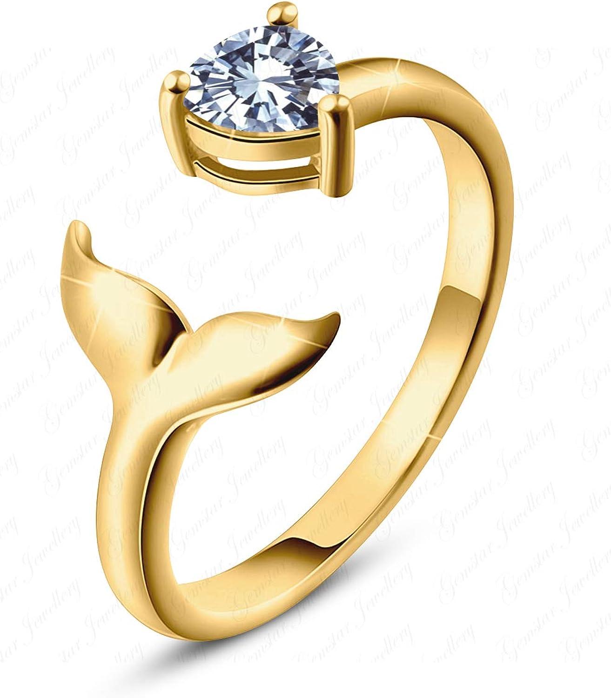 Gemstar Jewellery White Sim Diamond Adjustable Mermaid Toe Ring in 925 Silver 14k Yellow Gold Filled