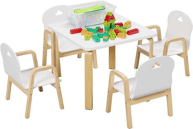 Homfa Juego de Mesa y 4 Sillas para Niños Muebles Infantiles Mesa con Sillas para Ñinos de 3-12 Años Blanco: Amazon.es: Hogar
