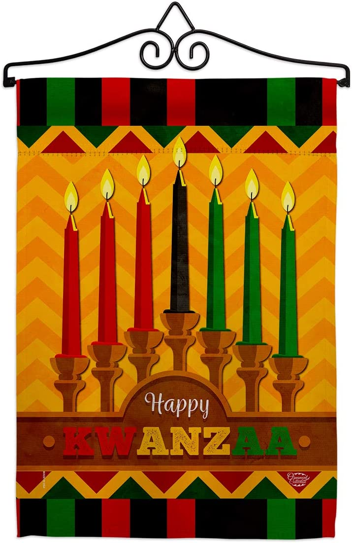 Kwanzaa Happy Holiday  Garden Flag Set Wall Hanger Winter Kinara Candles Celebrates African Americans Heritage Small Decorative Gift Yard House Banner Double-Sided Made in USA 13 X 18.5