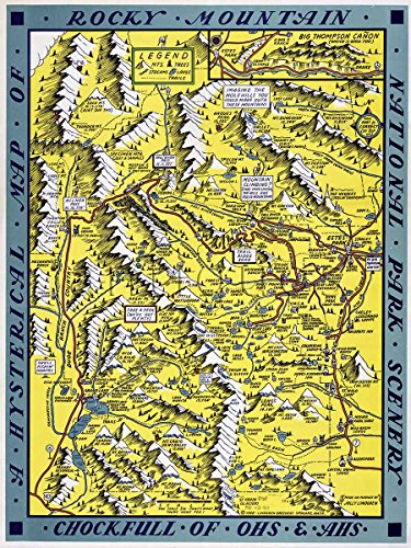 Hysterical MAP of Rocky Mountain National Park by Jolly Lindgren circa 1948 - measures 24