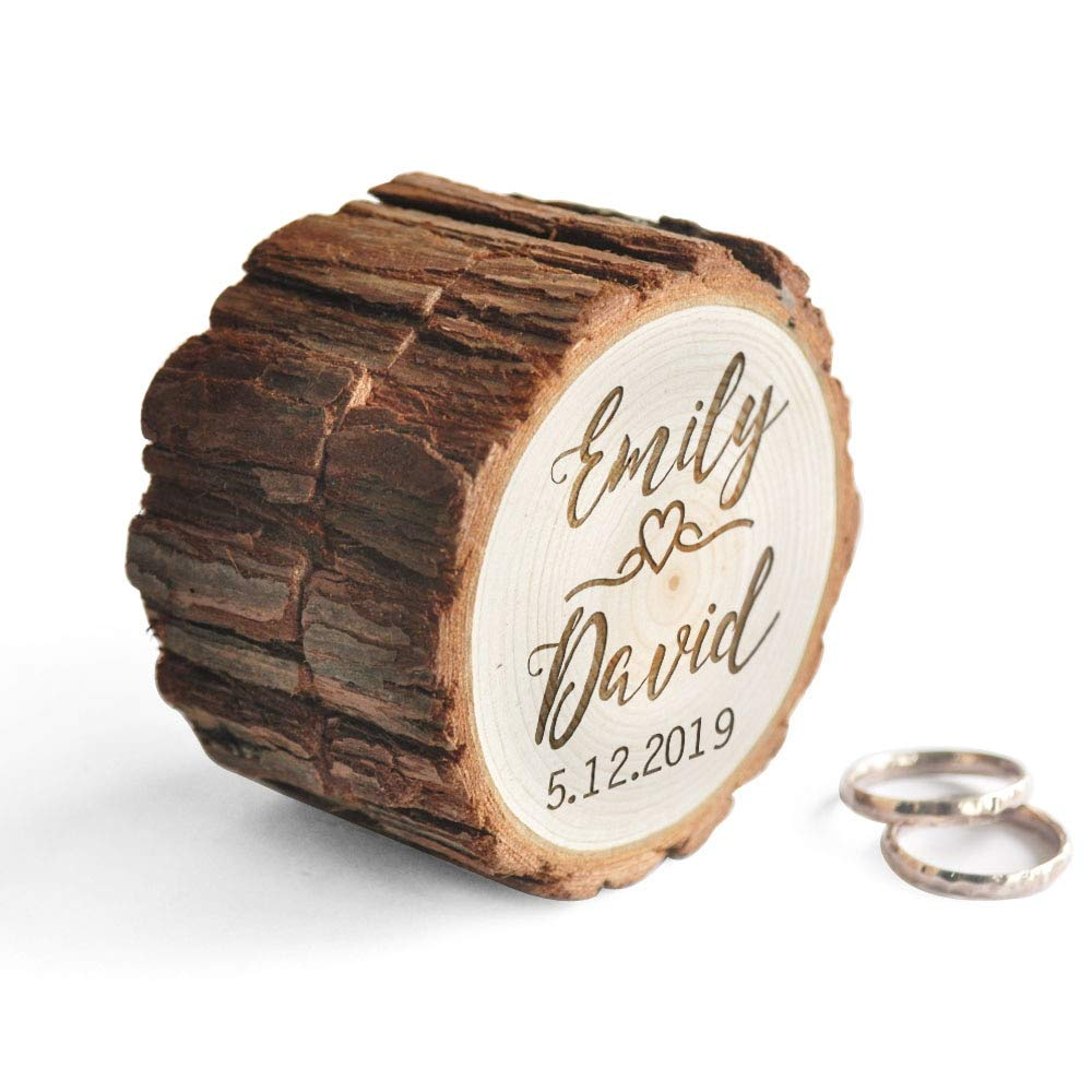 Nona7654 Wedding Ring Box Proposal Ring Box Rustic Ring Bearer Pillow Engagement Gift Country Wedding Valentines Gift Wedding Decor