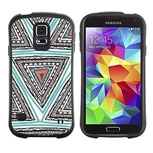 "Hypernova Slim Fit Dual Barniz Protector Caso Case Funda Para Samsung Galaxy S5 [Mano patrón dibujado Pluma Azul Triángulo""]"