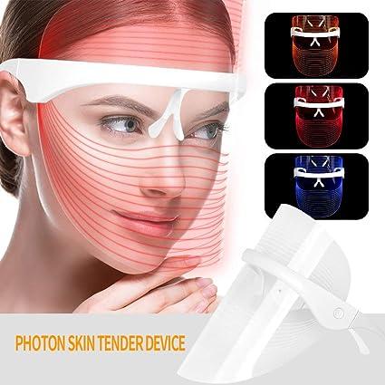 3 Colores Led Máscara De La Cara Photon Terapia Facial Máscara Espectral Piel Rejuvenecimiento Antiarrugas Máscara De Blanqueamiento Máscara De Limpieza Led Máscara De Belleza Tratamiento Led Máscara: Amazon.es: Belleza