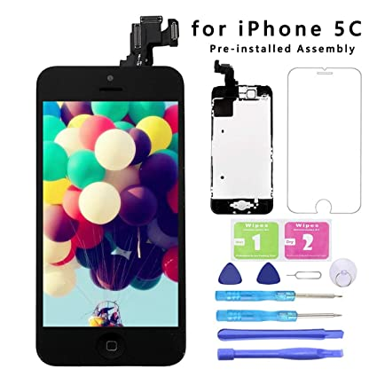 Screen Replacement for iPhone 5C Black Full Assembly LCD Display Touch  Digitizer with【Front Camera】【Home Button】【Proximity Sensor】【Earpiece  Speaker】