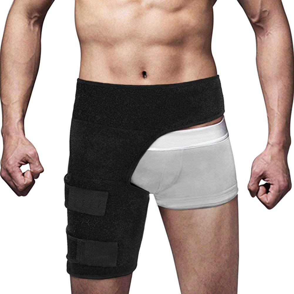 Beister Men and Women Adjustable Hip Groin Stabilizer and Hip Brace for Sciatica Pain Relief, Thigh Leg Compression Support Wrap Sleeve for Pulled Muscles, Hip Joint Pain, Quad Hamstring Joints Recove by beister