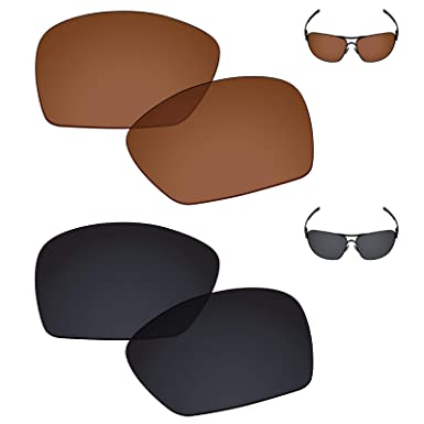 5191edc7256 Galvanic Replacement Lenses for Oakley Plaintiff Squared - Amber + Black  Polarized - Combo Pack