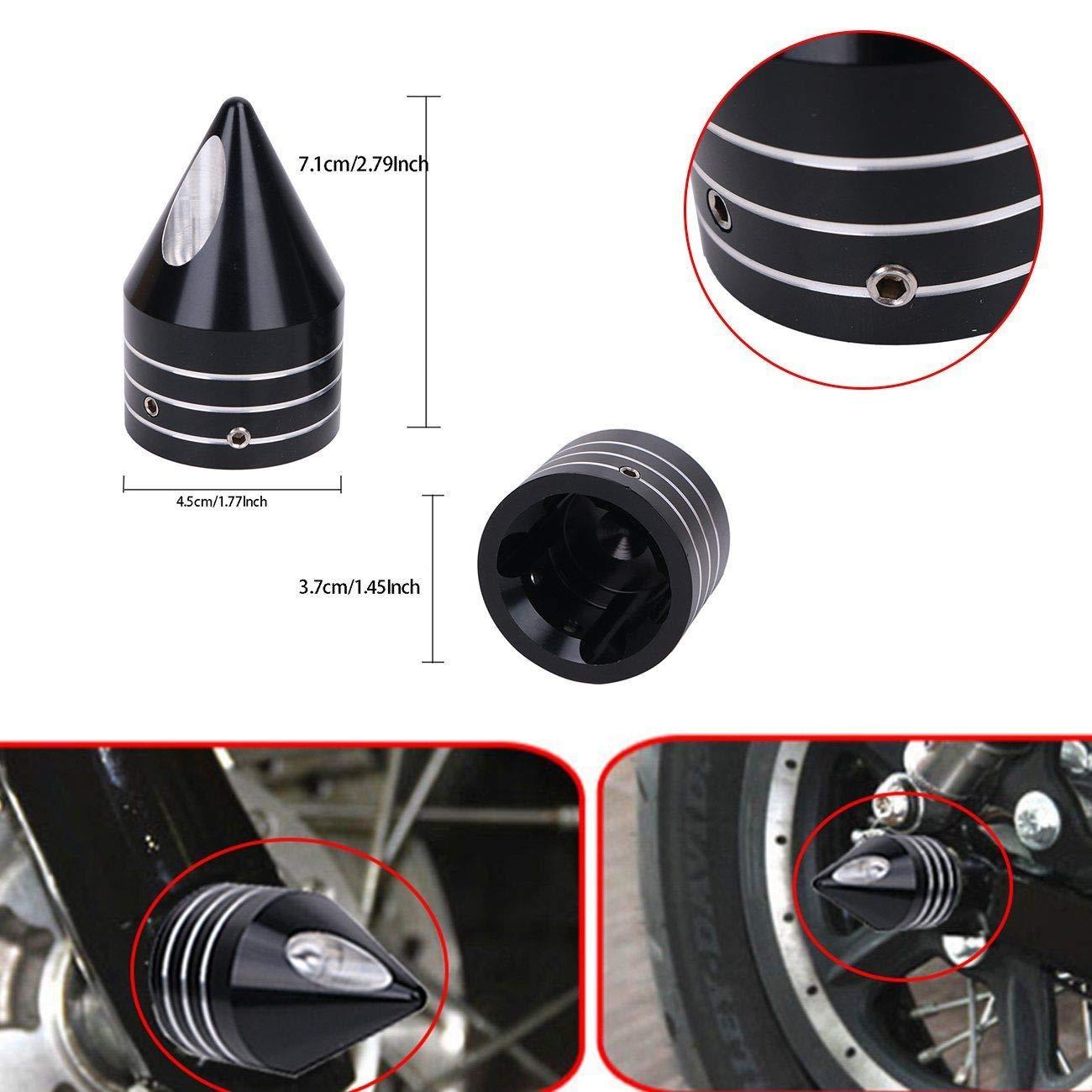 2Pcs 29.5mm Black Deep Cut Front Axle Cap Nut Cover Wheel Cap Bolt For Harley Softail Dyna V-Rod Sportster 1200 883 CVO