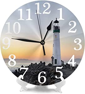 Lighthouse Wall Clock Silent Non Ticking Round Decorative for Living Room Bedroom Bathroom Home Decor