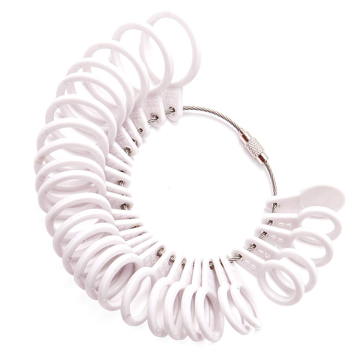 Meowoo Strumento per Il dimensionamento del Dito, Anelli Size Adjuster, per Anelli Mandrino Misura, UK Size Anelliera Misura in Plastica(Finger Measure) UK-Meo-Ring Sizer-White-1PCS