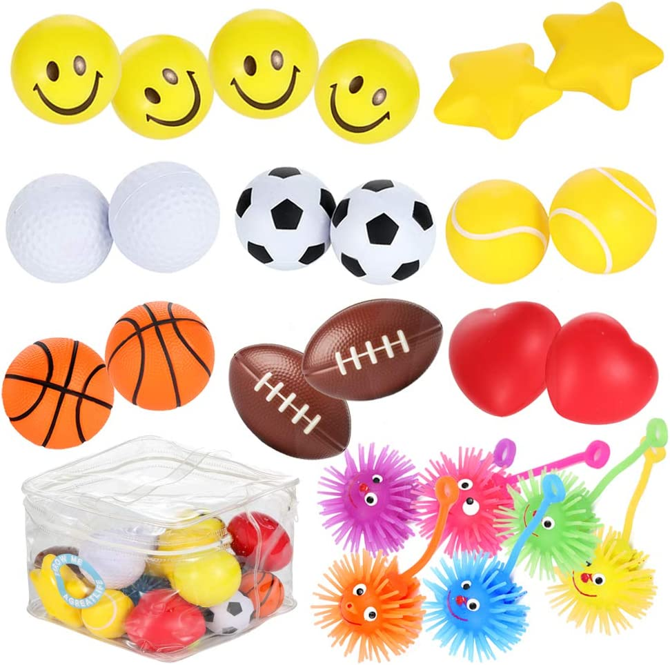 Squeeze Toys 4.5 Anxiety Sensory Releasing Ball ICINSKY Stress Balls for Adults and Kids Fidget Toys Rainbow Color