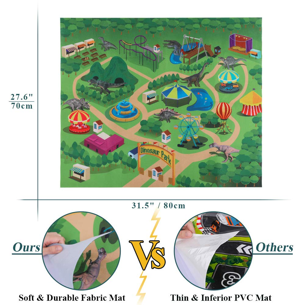 TEMI Dinosaur Toy Figure w/ Activity Play Mat & Trees, Educational Realistic Dinosaur Playset to Create a Dino World Including T-Rex, Triceratops, Velociraptor, Perfect Gifts for Kids, Boys & Girls by TEMI (Image #3)
