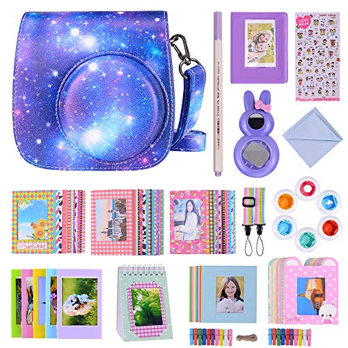 Bsuuy 16 in 1 Instax Mini 9 Camera Accessories Set for Fujifilm Instax Mini 9/ Mini 8/ Mini 8+ Camera, Includes Mini 9 Case,Albums,Six Color Filters,Rainbow Shoulder Strap ETC (Mysterious Galaxy)