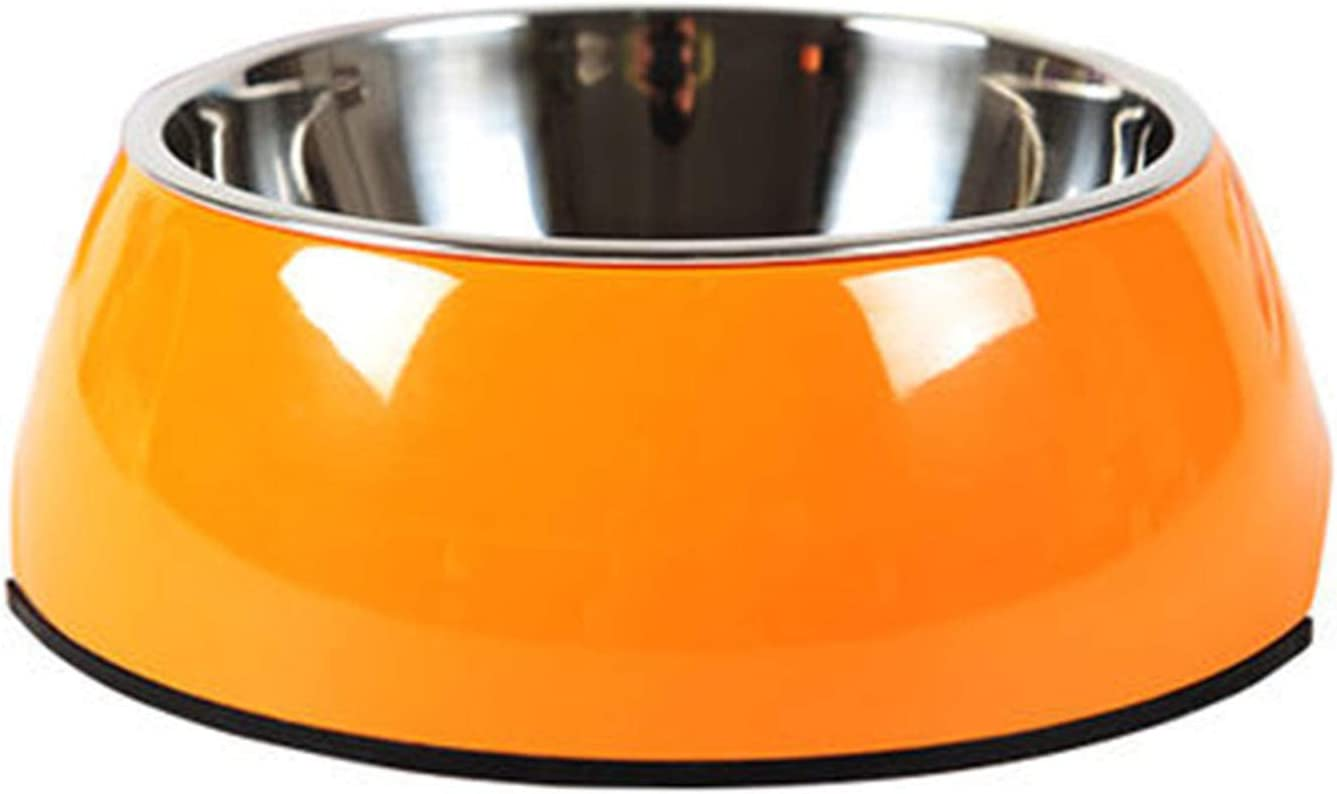Manda Ocean Pet Bowls Stainless Steel Dog Cat Pet Bowl Universal Pet Water and Food Bowls 4 Sizes and 5 Colors Available (S, Orange)