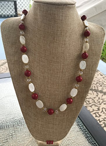 (Handmade Red Dyed Sponge Coral Rounds, Flat White Shell Ovals, and Clear Glass Necklace with Gold Tone Metal Spacers )