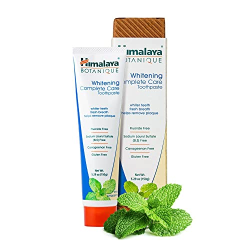 Botanique Whitening Simply Peppermint 150g - All Natural Fluoride-Free SLS FREE, Gluten Free and Carrageenan Free Organic Toothpaste - Vegetarian and Vegan Friendly by Himalaya (Since 1930)