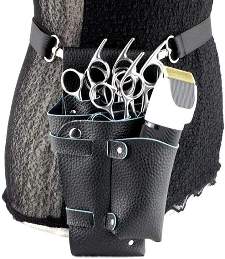 Fityle Leather Hairdressing Holster Bag Scissor Combs Waist Pouch Holder Adjustable Strap
