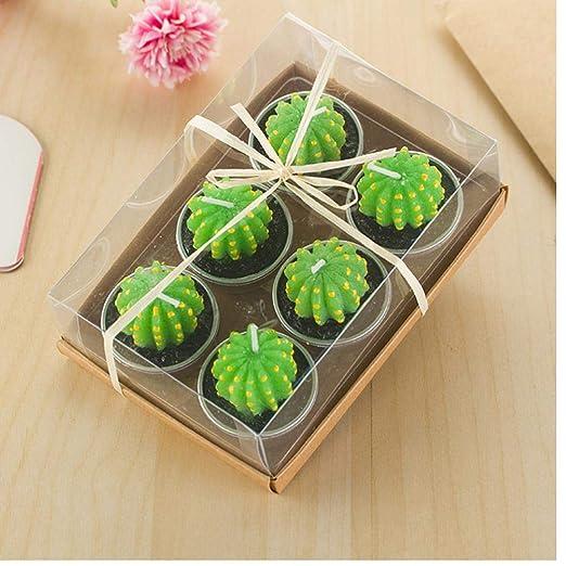 Oulensy 6PCS / Set Decoración Vela Cactus Tabla luz del té ...