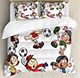 Boy's Room Queen Size Duvet Cover Set by Lunarable, Cartoon Style Children Happy Funny Kids Playing Soccer Boys Girls with the Ball, Decorative 3 Piece Bedding Set with 2 Pillow Shams, Multicolor