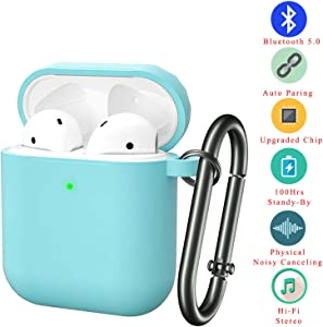 Bluetooth Wireless Noise Cancelling Headset | in-Ear Waterproof Headphones | with Portable Travel Silicone Charging case Hi-Fi Stereo Microphone Wireless Earbuds for iPhone/Android (Turquoise)