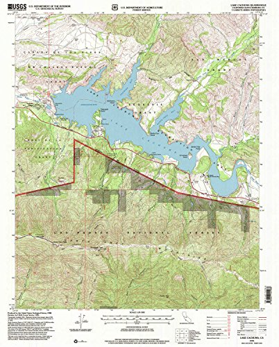 Lake Cachuma CA topo map, 1:24000 scale, 7.5 X 7.5 Minute, Historical, 1995, updated 2000, 26.7 x 21.5 IN - Tyvek California Condor Santa