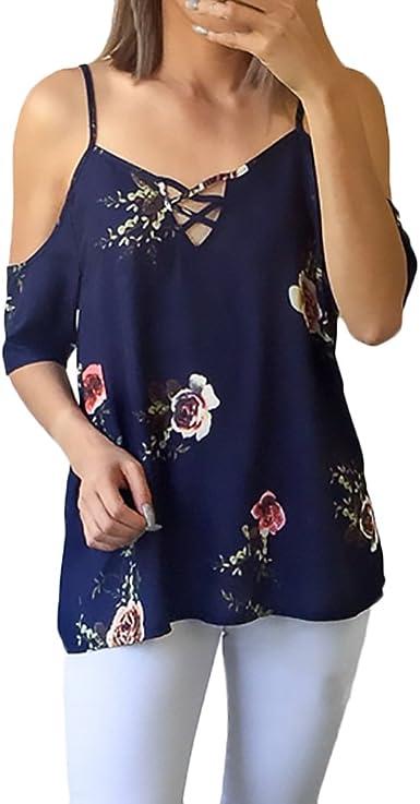 BOLAWOO Blusas Mujer Elegantes Moda Vintage Hippie Boho Estampado Flores Manga Corta Hombro Descubierto V Cuello Verano Blusa Camisetas Tops: Amazon.es: Ropa y accesorios