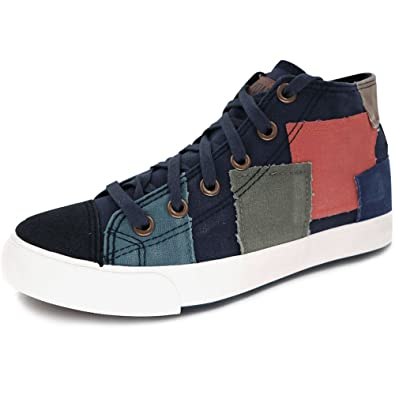 aa7912953ca6 Womens Classic High Top Canvas Sneakers Casual Lace Up Trendy Patch Design  Shoes (Women s 5.5