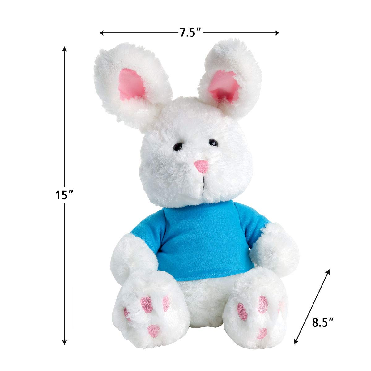 12 Inches Lillian Vernon Easter Bunny Stuffed Animal with Pink T-Shirt