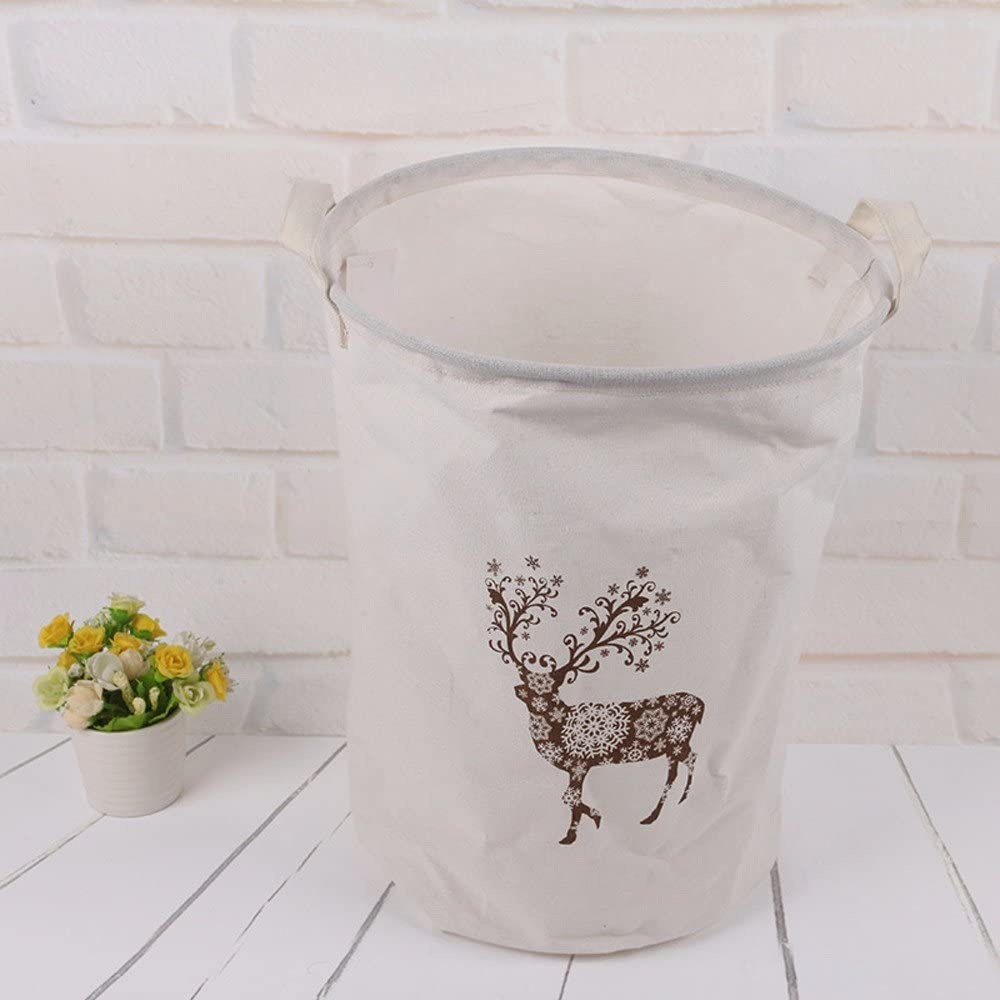 Container Storage Basket Box Bag,veyikdg Home Flower Deer Stripe Pattern Waterproof Animal Canvas Sheets Clothes Sundries Laundry Storage Baskets Room Tools Gadget Folding Storage Boxes ✿A
