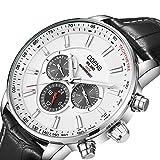 Men's Big Face Black Leather Watch,Quartz Waterproof Date Week Display Analog Wrist Watches