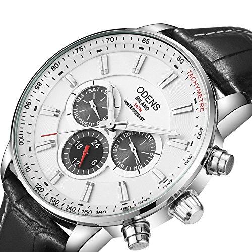 Big Date Mens Wrist Watch - Men's Big Face Black Leather Watch,Quartz Waterproof Date Week Display Analog Wrist Watches