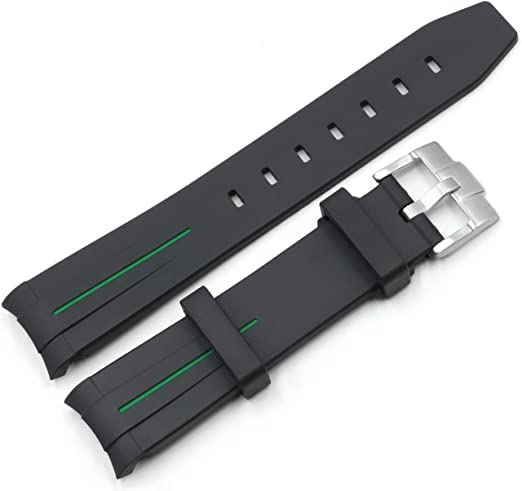 20mm Curved End Silicone Rubber Watch Strap W Buckle Fit For Rolex Gmt Yatch Master 16622 Watches Amazon Com
