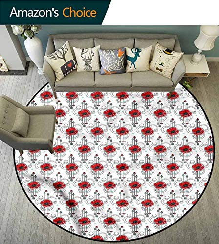 RUGSMAT Tattoo Machine Washable Round Bath Mat,Red Poppy Geometrical Floor Mat Home Decor Round-59