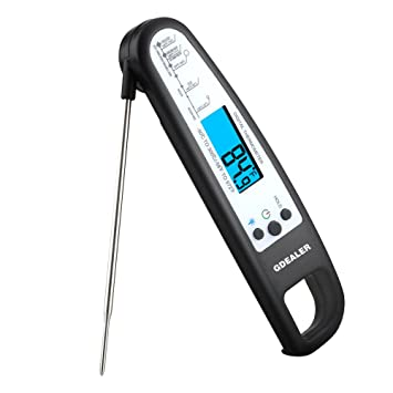 gdealer meat thermometer digital cooking thermometer electronic instant read thermometer food thermometer with blue backlit lcd
