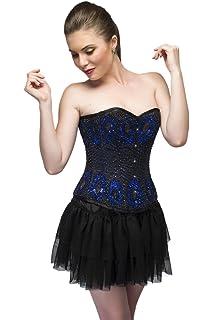 9a6ca93154 Blue Satin Black Sequins Goth Burlesque Waist Cincher Basque Overbust  Corset Top