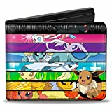Buckle-Down Men's Wallet Eevee Pose Corner/evolution Close-up Faces Striping Accessory, -Multi, One Size