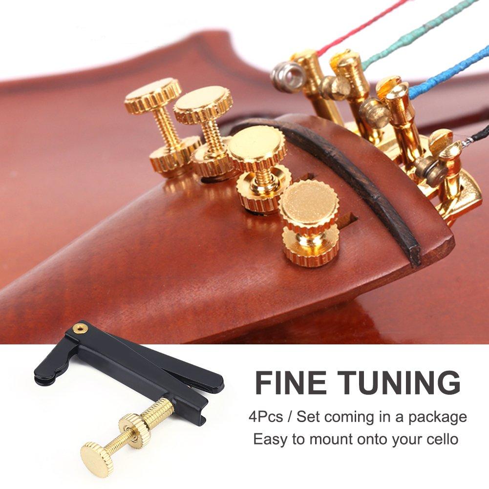 Black 4Pcs String Adjuster Anti-rust Cello String Fine Tuner with Gold Screw Instrument Accessory for 3//4 4//4 Cello