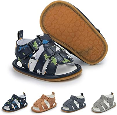 Babelvit Infant Baby Boys Summer Sandals Soft Rubber Sole Non-Slip First Walkers Shoes(3-18 Months) 12-18 Months M US Toddler, B-Brown