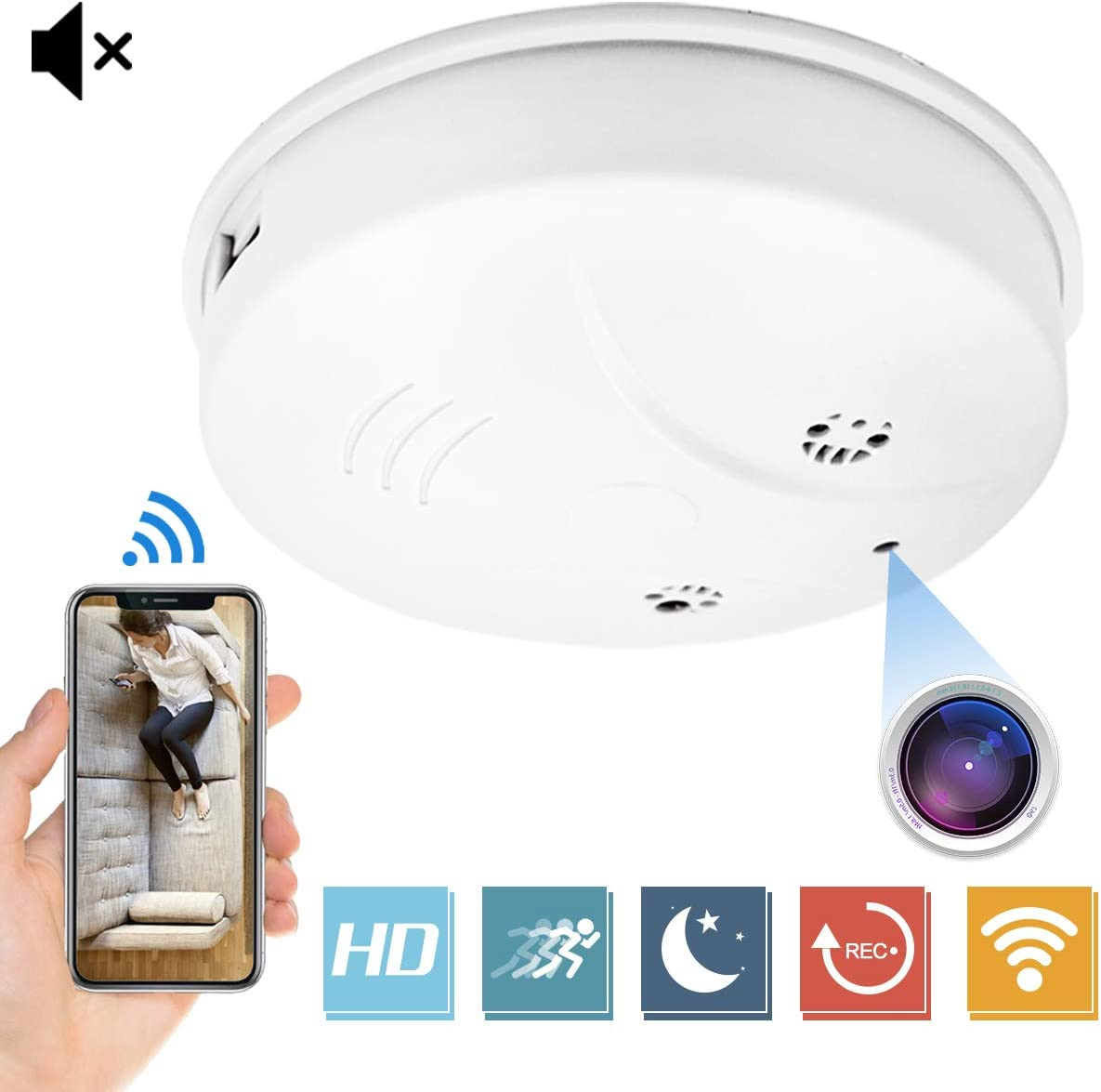 Wireless Hidden Camera AMCSXH HD 1080P Nanny Cam Baby Pet Monitor WiFi Smoke Detector Camera Motion Detection/Indoor Security Monitoring Camera Support iOS/Android