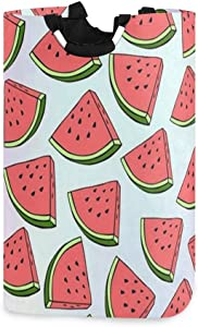 SLHFPX Laundry Basket Watermelon Fruits Large Collapsible Dirty Laundry Hamper Bag Tall Fabric Storage Baskets Rectangle Folding Washing Bin Hand Clothes Organizer for Kids,Dorm 53L