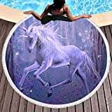 Sleepwish Purple Unicorn Beach Towel Over Sized Horse Blankets for Kids Dreamy Yoga Mats Tassle Throw Blanket (Violet, 60 inch)