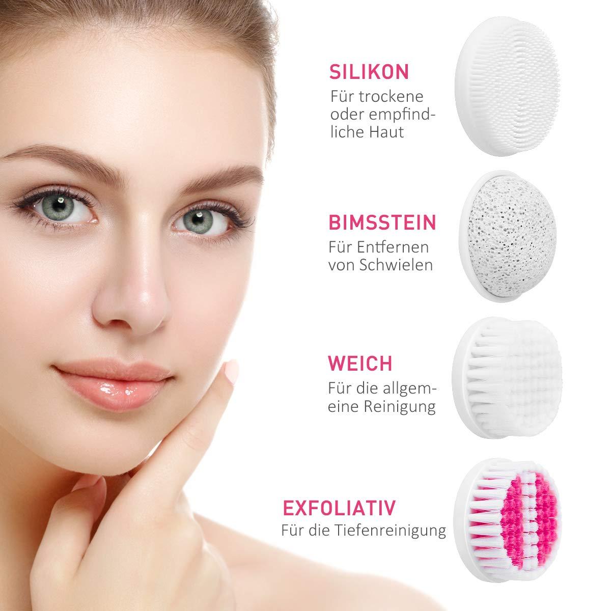 Gesichtsreinigungsbürste,ETEREAUTY Wasserfest elektrisch Gesichtsbürste Reisegröße mit 4 Bürstenköpfen und eine Schützende Reisetaschefür Alle Hauttypen Tägliche Gesichtsreinigung Rosa