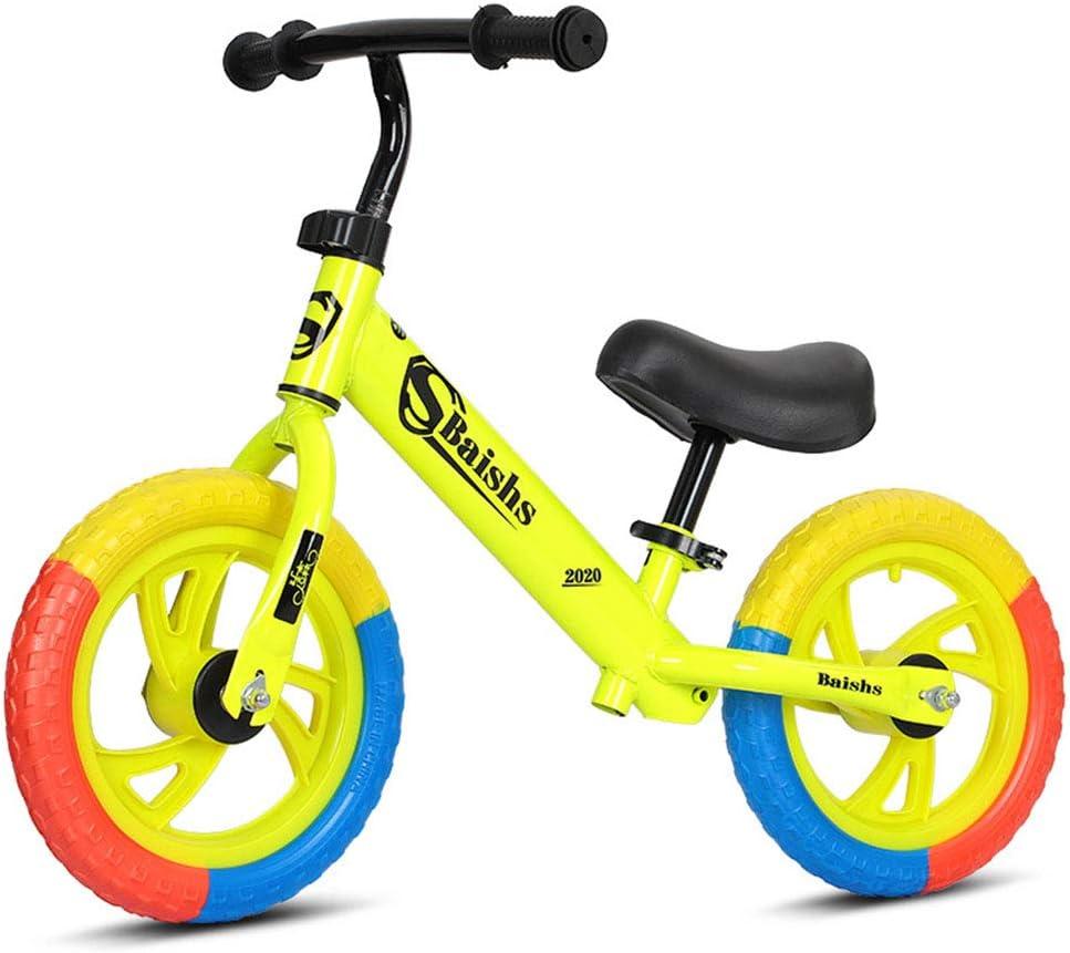 DFSSD Niños Primero Bicicletas, Equilibrio formación Bicicleta, Neumáticos de Colores, Smooth Bearings, Ahorra Esfuerzo, por 2-6 años de Edad Chico y niños pequeños,Amarillo