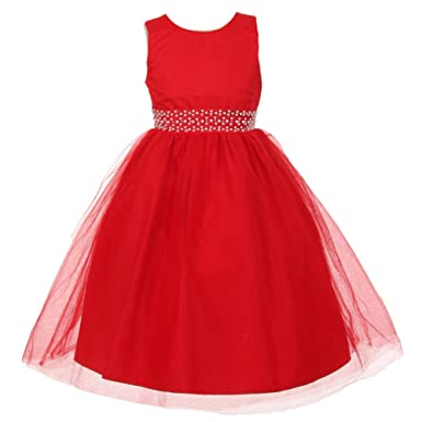 2cbad3716b428 The Rain Kids Big Girls Red Sparkly Tulle Pearls Occasion Christmas Dress 8:  The Rain Kids: Amazon.co.uk: Clothing