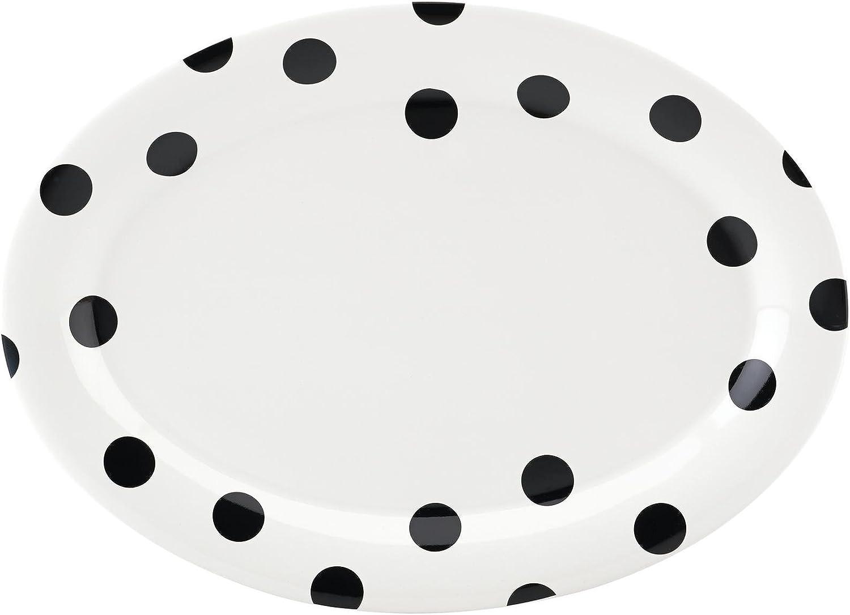 "KATE SPADE Deco Dot 14"" Oval Serving Platter, 2.95 LB, White"