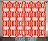 Ambesonne Retro Curtains, Hexagonal Comb Pattern Geometrical Tile Graphic Artwork Vintage Design, Living Room Bedroom Window Drapes 2 Panel Set, 108 W X 108 L Inches, Peach Coral Dark Coral For Sale