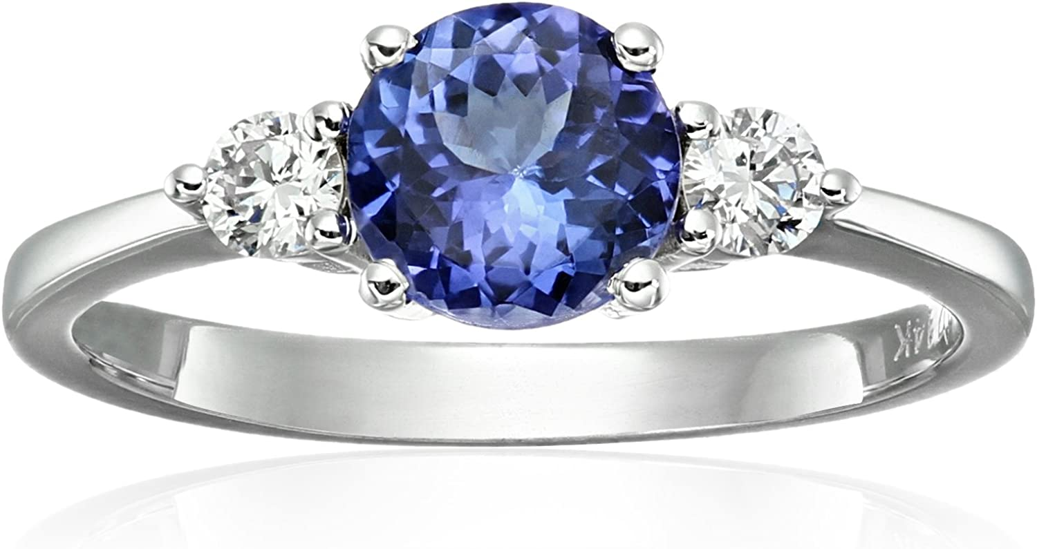 14k White Gold AAA Tanzanite And Diamond 3-stone Engagement Ring (1/5cttw, H-I Color, SI2 Clarity), Size 7