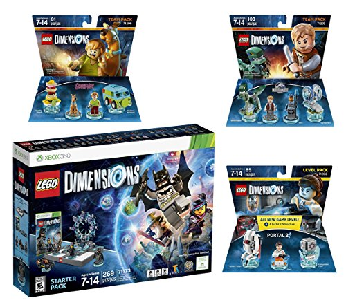 Lego Dimensions Starter Pack + Portal 2 Level Pack + Scooby Doo Team Pack + Jurassic World Team Pack for Xbox 360 Console by WB Lego